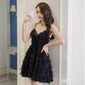 夜店性感女裝小禮服裙子女露背蕾絲v領低胸吊帶洋裝女  朵拉朵衣櫥