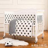 嬰兒床  嬰兒床實木多功能新生兒bb床寶寶床白色歐式拼接大床帶蚊帳igo  歐韓流行館