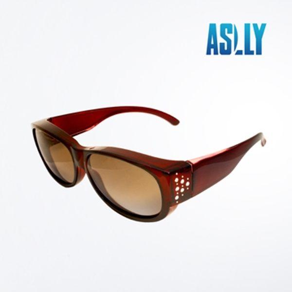 車用全罩式酒紅施華洛世奇水鑽偏光太陽眼鏡/墨鏡/套鏡-ASLLY濾藍光眼鏡