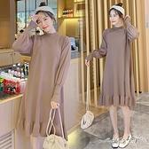 孕婦裝 MIMI別走【P521327】柔美又溫暖 質感立領針織荷葉連身裙 孕婦洋裝