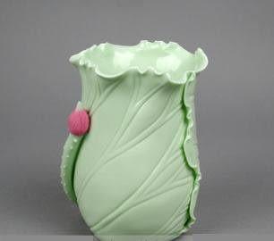 清新荷葉花瓶可做筆筒 陶瓷藝術