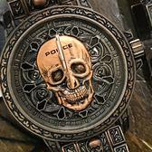 【萬年鐘錶】POLICE  骷髏圖騰 特殊風格 防水 古銅 男錶 + 手環套組  大錶徑 46mm  15530SKQBZ-SET2