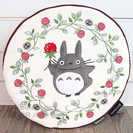 〔小禮堂〕宮崎駿 Totoro龍貓 圓形坐墊《米.花.刺繡》