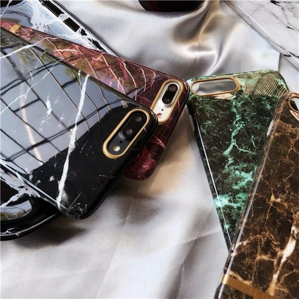 iPhone手機殼 高端文藝光面金邊大理石 矽膠軟殼 蘋果iPhone7/iPhone6手機殼
