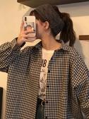 2020款秋裝韓版女裝休閒復古寬鬆顯瘦中長款長袖格子襯衫上衣襯衣 moon衣櫥