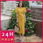 梨卡★現貨 - 氣質少女心優雅純色短袖中長版連身裙連身長裙洋裝B921-1