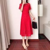 紅裙子女2018新款小紅裙仙氣冷淡風ulzzang裙子顯瘦一字肩連身裙   LannaS