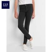 Gap女童 基本款柔軟舒適休閒長褲 805395-正黑色