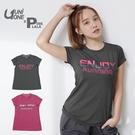 粉紅拉拉【PUNI677002】UNIONE 花紗吸濕排汗印花T恤 女生運動T恤 英文跳色 彈性運動上衣 M-XL