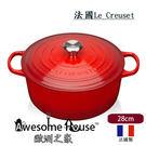 法國 Le Creuset 新式 Signature 28cm /6.7L 鑄鐵鍋 圓鍋 - 紅色