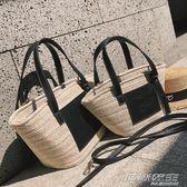 夏天包包女新款潮韓版百搭單肩大手提包文藝草編包籃子包  时尚教主