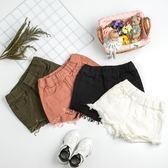 女童夏季韓版牛仔短褲破洞中大童兒童四色純棉外穿百搭寬鬆熱褲子 芥末原創