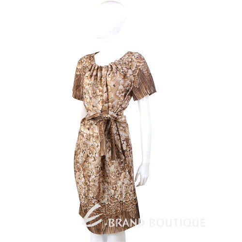 PHILOSOPHY 咖啡色漸層印花短袖洋裝(附腰帶) 1230445-07