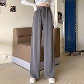 女休闲裤 垂感高腰休閒褲直筒寬鬆拖地褲顯瘦百搭闊腿褲女春褲子【快速出貨八折下殺】