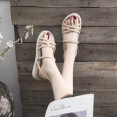 ?鞋  網紅兩穿涼鞋女夏季2019新款裙子ins潮百搭仙女溫柔風晚晚平底鞋 2色35-40