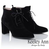 ★2018秋冬★Keeley Ann俐落時尚~經典素面綁帶側拉鍊短靴(黑色)-Ann系列