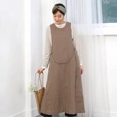 正韓 亞麻開襟綁帶無袖洋裝 (6782) 預購