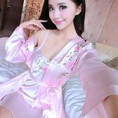 睡衣—睡衣女夏季長袖浴袍冰絲性感吊帶睡袍兩件套裝可愛韓版家居服絲綢 依夏嚴選