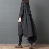 中大碼洋裝 春秋女裝新款大碼韓版文藝復古寬松顯瘦中長款純色長袖襯衫洋裝