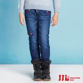 JJLKIDS 女童 經典刷色內刷毛保暖牛仔褲(牛仔藍)