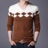 男毛衣 雞心領針織毛衣 簡約休閒男裝長袖T恤套頭衫男針織衫【非凡上品】cx6862