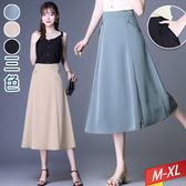 雙側口袋摺口單釦中長裙(3色)M~XL【622301W】【現+預】☆流行前線☆