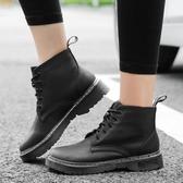 短靴女 馬丁靴 新款英倫學院風復古子粗跟百搭系帶短靴休閒女鞋韓版女鞋子《小師妹》sm3270