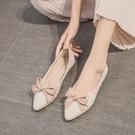 低跟鞋 尖頭單鞋女2021夏款韓版百搭網紅平底蝴蝶結一腳蹬復古仙女