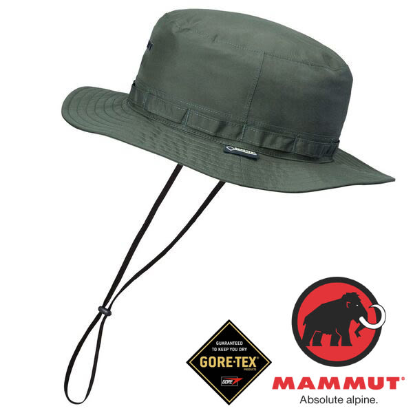 Mammut長毛象 1090-05960-4023深橄欖 防風防水透氣帽/登山帽健行Gore-Tex All Weather hat運動休閒帽