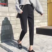 直筒西裝褲女小腳九分褲黑色高腰韓版職業褲