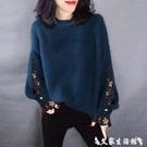 假兩件針織上衣 假兩件毛衣女2021秋冬新款寬鬆圓領套頭打底衫上衣時尚百搭針織衫 艾家