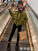 女童工裝外套兒童春秋年新款洋氣童裝秋季時髦上衣秋裝大童潮『快速出貨』