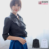 長袖襯衫--高雅宮廷風荷葉邊造型素面長袖襯衫(白.黑XL-5L)-I165眼圈熊中大尺碼