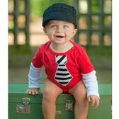 美國Ruggedbutts-假領帶心碎紅色長袖包屁衣