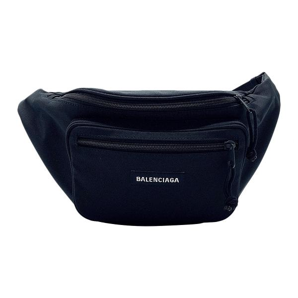 【台中米蘭站】全新品 BALENCIAGA 品牌字母尼龍布腰包/斜背包(482389-黑)