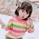 女童上衣T恤 女童純棉長袖新款春秋款條紋小雛菊中小兒童寶寶打底衫潮T恤1-7歲 快速出货
