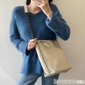 大容量女包鏈條裝飾單肩包大包2019秋冬新款鉚釘手提包購物斜挎 印象家品