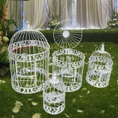 歐式鐵藝裝飾鳥籠 櫥窗擺件 白色攝影道具 大型號酒店婚慶鳥籠交換禮物  YYS