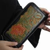 真皮皮夾(長夾)-手工雕刻大容量復古男錢包3色73qs44[時尚巴黎]
