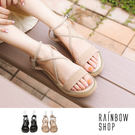 現貨-甜美厚底交叉麂皮涼鞋-AA-Rainbow【A6X-579】