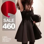 SISI【D4207】名媛淑女風圓領無袖高腰修身波浪大裙擺太空棉連身裙洋裝
