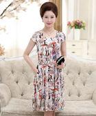 中老年女媽媽裝短袖棉綢裙子中年40-50歲中長款修身連身裙     琉璃美衣