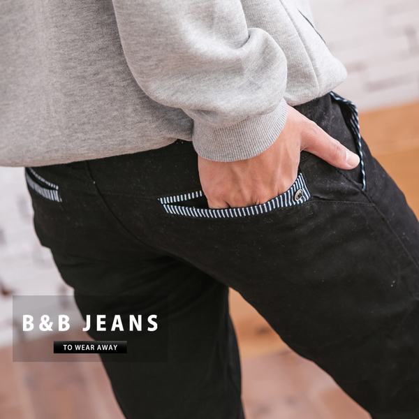 英倫紳士風條紋縮口褲.牛仔褲.束口褲