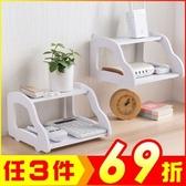 DIY雙層白色木質桌上壁掛收納架置物架【AP07001】99愛買小舖