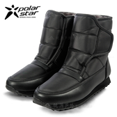 PolarStar 男 防潑水保暖雪鞋│雪靴│冰爪『漆皮黑』 P13619.(內厚鋪毛)防滑鞋底.雪地靴.