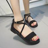 女涼鞋低跟時尚簡約涼鞋女 平底露趾涼鞋女潮「青木鋪子」