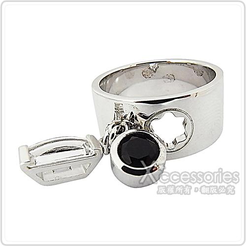 萬寶龍MONTBLANC 簍空六角星LOGO寶石墜飾寬版戒指(銀)