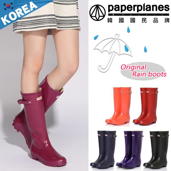 [現貨] PAPERPLANES 紙飛機 雨鞋 時尚簡約 質感扣帶 防水 顯瘦高筒 雨靴 【B7901193】4色