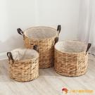 民族風編織臟衣籃衣服收納筐手工草編臟衣簍收納桶洗衣籃【小獅子】
