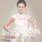 韓式蕾絲花瓣頭紗新娘婚紗復古1.5米3米超長軟頭紗短款